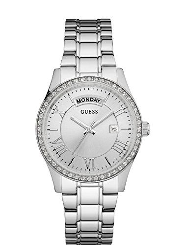GUESS Womens U0764L1 Dressy SilverTone Stainless Steel MultiFunction Watch with ...