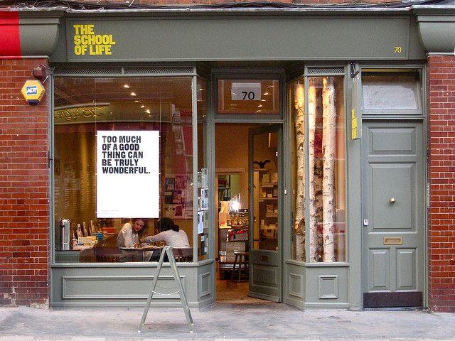 The School of Life | London Идея: менять плакаты с цитатами регулярно, посуда с цитатами и тд