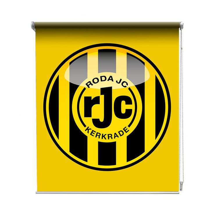 Rolgordijn Roda JC| De rolgordijnen van YouPri zijn iets heel bijzonders! Maak keuze uit een verduisterend of een lichtdoorlatend rolgordijn. Inclusief ophangmechanisme voor wand of plafond! #rolgordijn #gordijn #lichtdoorlatend #verduisterend #goedkoop #voordelig #polyester #roda #rodajc #rjc #voetbal #club #geel #logo #embleem #kerkrade #jongenskamer #supporter