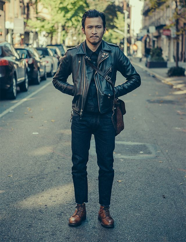 Nate Bui just might by my personal style icon. The very definition of cool. - Tags: outfit, streetsnap, black leather motorcycle jacket, buttons, pins, button up, black denim, brown leather boots, messenger bag