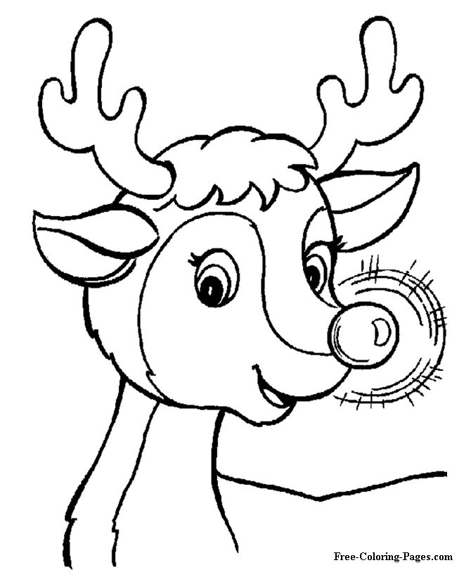 free printable christmas coloring pages rudolph - Coloring Stencils