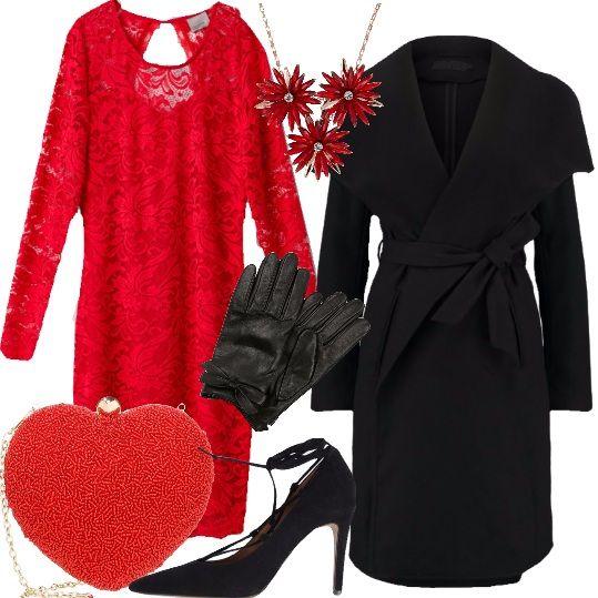 Un outfit sexy, femminile e civettuolo , adatto anche alle prossime feste, la mia proposta di oggi. Un tubino in pizzo rosso, un cappotto nero con ampio collo e cintura sono i capi base. Le décolleté hanno sottili lacci che accarezzano le caviglie e gli accessori accendono i riflettori su di essi: dallo splendido collier con cristalli colorati, alla clutch rossa a forma di cuore per finire ad un paio di guanti in delicata pelle con piccolo fiocco sui polsi.