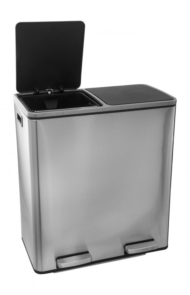 Large 2 compartment Recycling bin Steeldesign MADS 48 litre