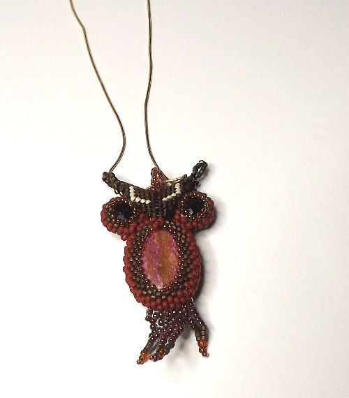 FREE SHIPPING Owl from beads brown owl OOAK by Mamyblue on Etsy, $45.00