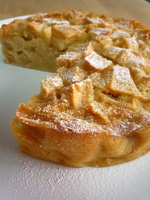 FRENCH APPLE CAKE  3/4 cup + 1 tbsp all purpose flour  3/4 tsp baking powder  1/8 tsp salt  3 very large apples, peeled, cored and chopped into 1-inch chunks  1 large eggs  3/4 cup sugar  2 tbsp rum  1 tsp vanilla  1 stick butter, melted and cooled