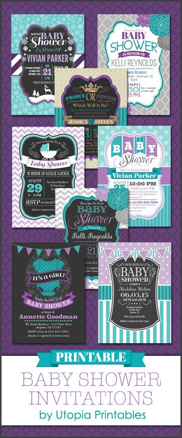 Printable teal, purple and gray baby shower invitations. 5x7, digital JPEG format. DIY custom print at home invites with pretty aqua blue, turquoise, lavender and grey hues to match your unique baby shower party idea or theme. Will be customized with your info. Includes personalized girl or boy gender reveal announcements, winter woodland themed cards, instant download fill in the blank invitations, tribal, diaper raffle tickets, book request inserts, wishes for baby and bingo cards.