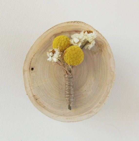 Heather Groom or Groomsman Boutonniere - golden yellow, customizable, billy button boutonniere