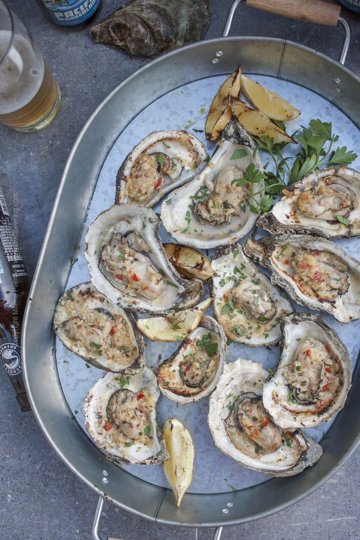Smoked and chargrilled oysters platter. Great pilsner pairing, or most craft lagers, even IPAs.