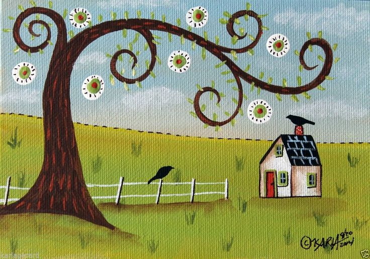 4 Seasons-Spring 5x7 inch Canvas Panel ORIG PAINTING FOLK ART ABSTRACT Karla G... new painting, 2nd in a series of 4 seasons paintings-Spring... #FolkArtAbstractPrimitiveLandscape
