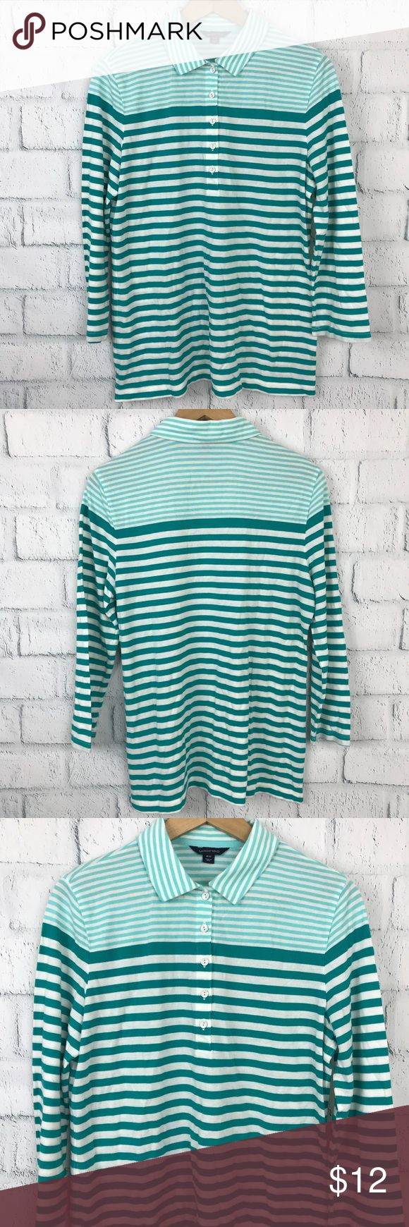 Lands End Women's Green Striped Button Tunic M ▪️Excellent used condition ▫️ Women Sz M ▪️ smoke free - Dog friendly home ▫️Armpit to Armpit 21 inch. ▪️Top to Bottom 24 inch. ▫️ Sleeve length 20 inch. ▪️ 67% Lyocell 33% Baumwolle  🔮 Check out more style and size in my closet.  ✔️Shipping 1 business day or Same day if payment by 12pm Eastern time zone  ✔️ Measurement are to the best of my knowledge by flat lay position. Every items from my store come from Michigan with Pre-owe / New with Tag…
