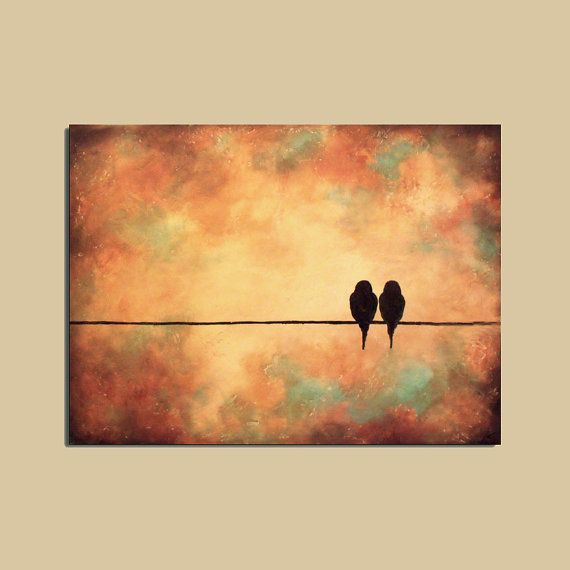 sunset bird canvas wallart | Original Birds Painting 18 x 24 Rich by ContemporaryEarthArt