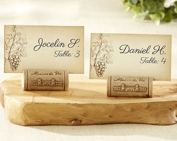 """Wine lovers, raise your glasses to this exquisite, wine cork-style favor that captures the essence of old-world wineries and contemporary wine-themed favors—the """"Maison du Vin"""" Wine Cork Place Card/Photo Holder!"""
