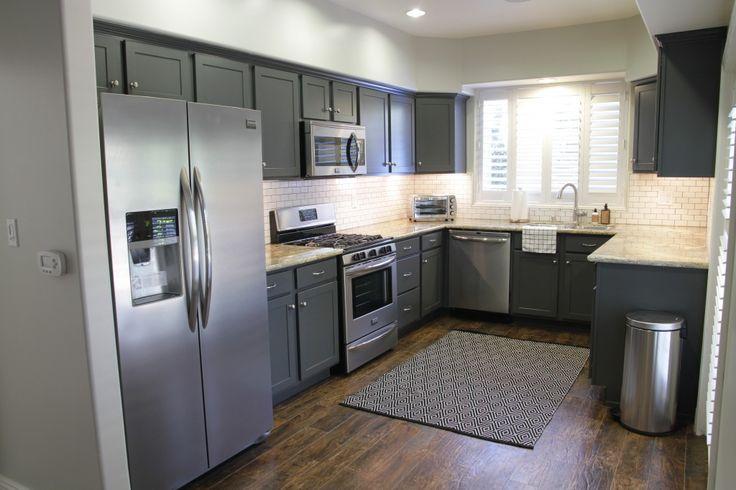 Dark Grey Cabinets White Subway Tile Dunn Edwards