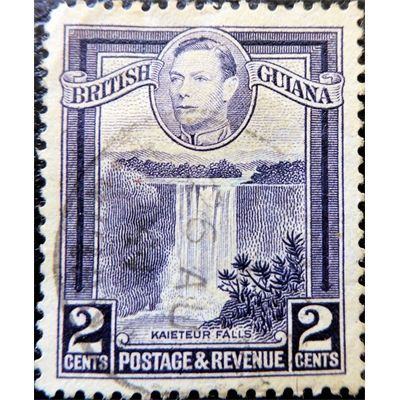 British Guiana, Guyana, George VI, Kaieteur Falls, 2 cents, 1938 used VF