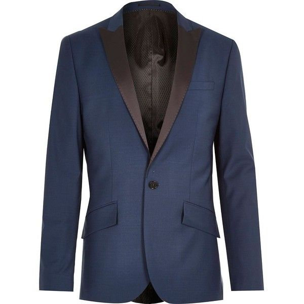 River Island Blue tux wool-blend slim suit jacket ($62) ❤ liked on Polyvore featuring mens, men's clothing and sale