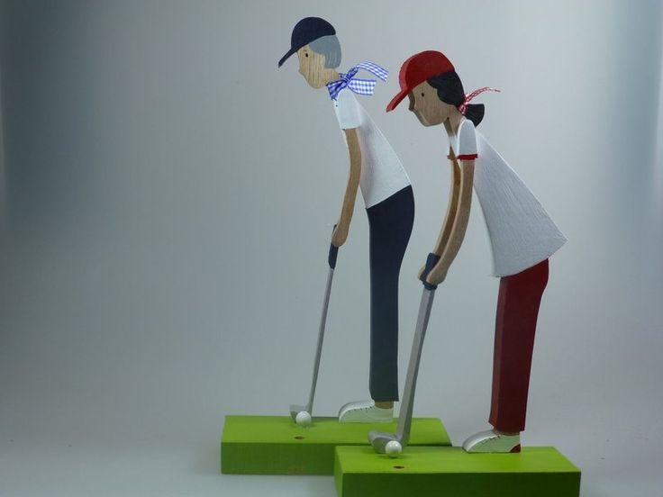 Deko-Objekte - Holzfigur - Golfer - Golferin - Golfspieler - Golf - ein Designerstück von mw-holzkunst bei DaWanda
