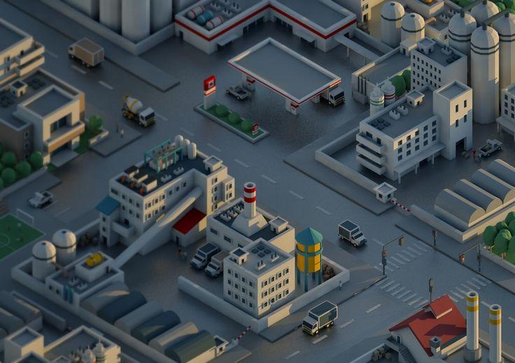 #mini #city #low #poly #isometric #factory #plant