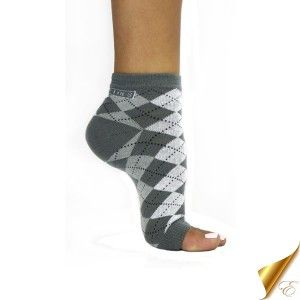 FreeToes Grey Argyle Toeless Socks