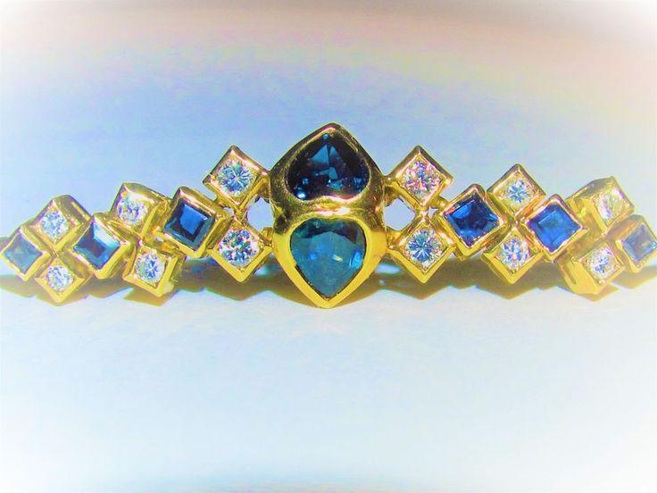 ESTATE~VINTAGE 18K REAL YELLOW GOLD&1+CT BLUE SAPPHIRES&DIAMONDS LADIES BRACELET #CustomMade #Statement