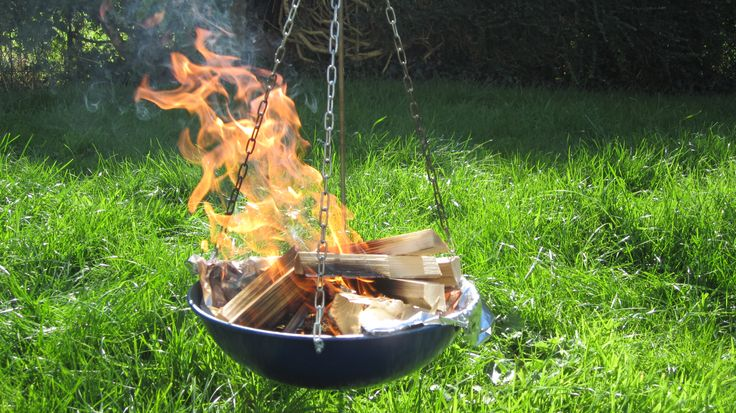 Hanging fire bowl made from a recycled wok my teardrop for Hanging fire bowl