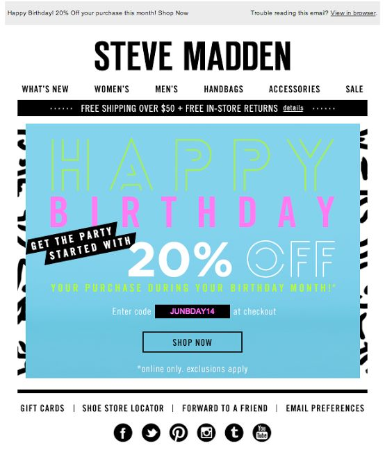Steve Madden Birthday Email 6 2014