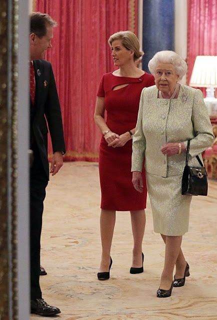 (R-L) Queen Elizabeth II and Sophie, Countess of Wessex are seen during a reception to celebrate the patronages of the Princess, in the year of her 80th birthday at Buckingham Palace on November 29, 2016 in London, England.