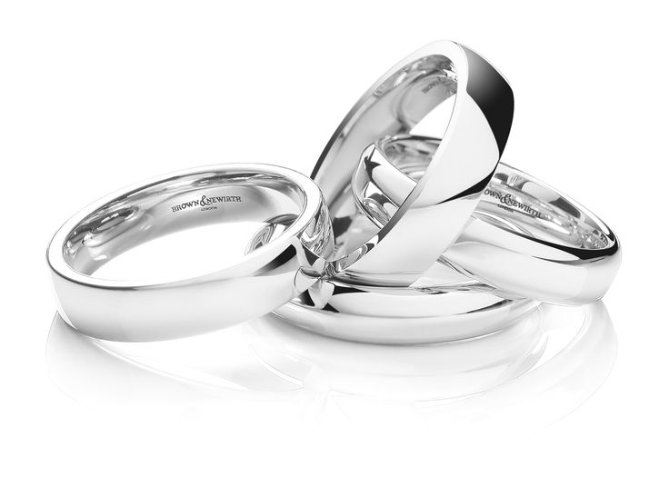 Platinum, Palladium or white gold, the choice would be yours. All from Brown and Newirth, wedding ring specialists