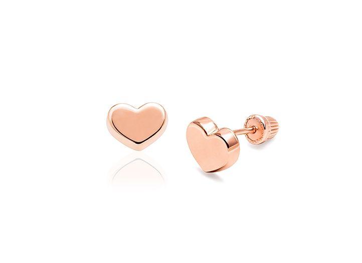 Modern Heart Baby Children S Earrings Screw Back 14k Rose Gold Childrens Earrings Baby Girl Earrings Earrings
