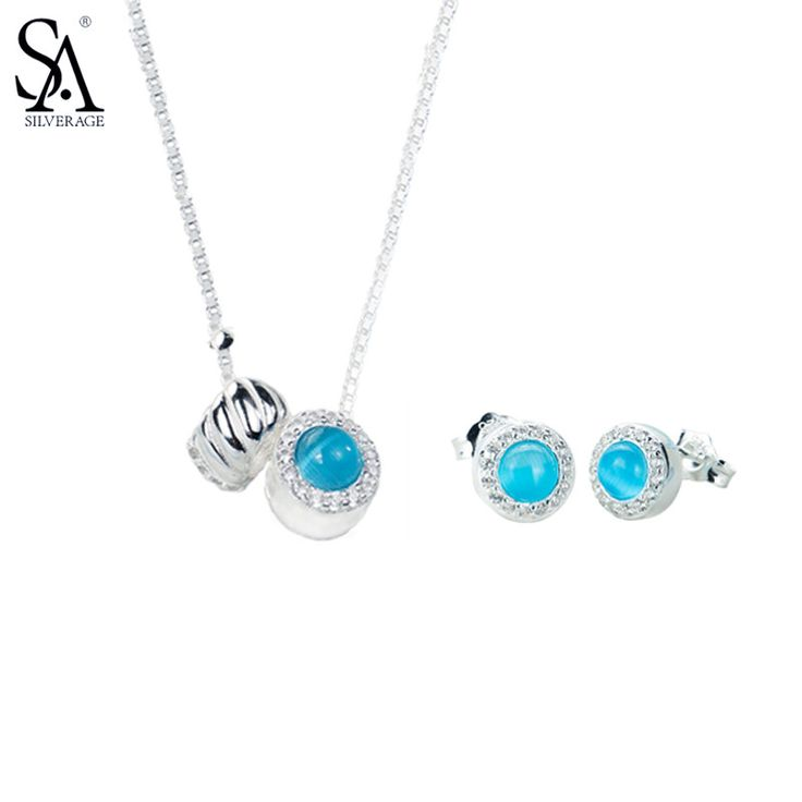 SA SILVERAGE 925 Sterling Silver Round Jewelry Sets For Women Necklaces Pendant Stud Earrings Fine Jewelry Blue 2017 Hot Sale