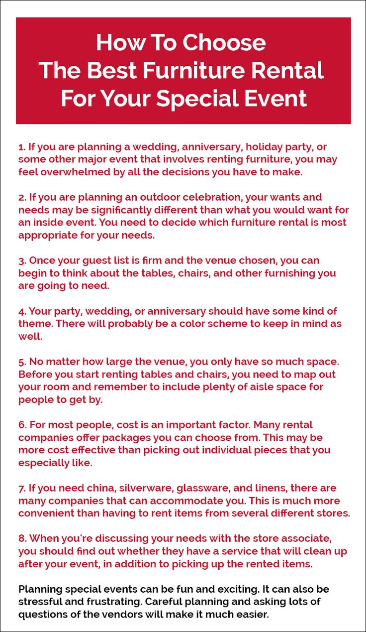 Planning an event or function requires #rentalfurniture. Moreover, you may require many other items apart from furniture. A good furniture rental company may provide you everything. Pay a look to this Infographic and learn more about furniture rentals.