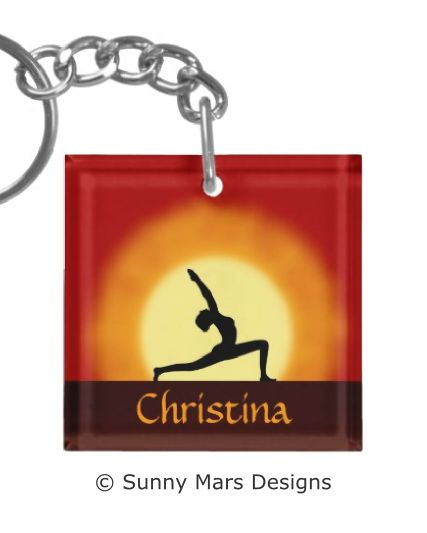 Yoga Pose Silhouette Custom Key Chains by sunnymars of SunnyMarsDesigns.  This cool, vibrant, red and yellow custom yoga square keychain, keyring or key ring features the silhouette of a woman practicing yoga with the sunrise in the background. Click through to see more yoga keychians.  Concept for health, fitness, peace and tranquility. Perfect gift for yogis, yoga instructors, yoga teachers, yoga lovers or yoga students.