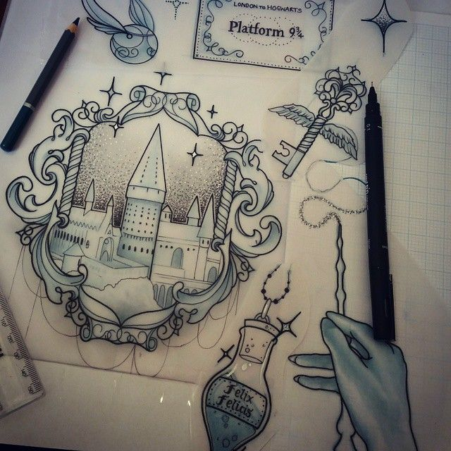Töpfer!!! Ich bin ein wenig aufgeregt für dieses ❤ #harrypotter #hogwarts #tattoo #harrypotterfan #snitch #wand #ladytattooers #uktattooartist #plymouth #design #art #instagood #harrypotterforever