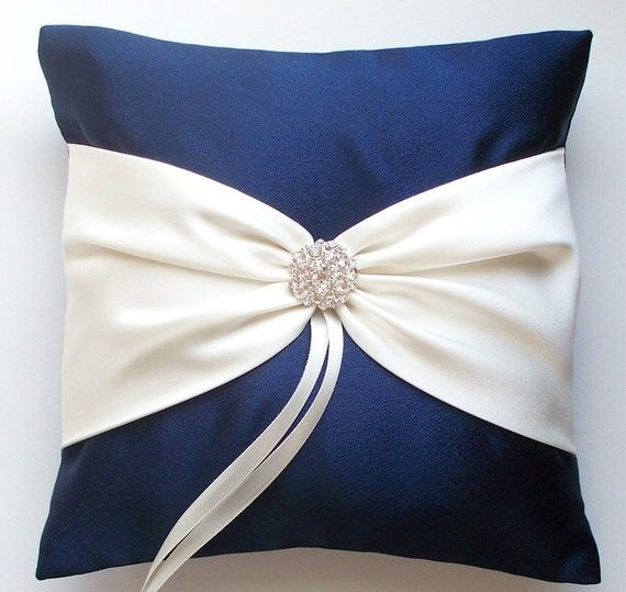 Wedding Ring Pillow in Navy with Ivory Sash Cinched with Rhinestone Button  - The ANISLEY Pillow
