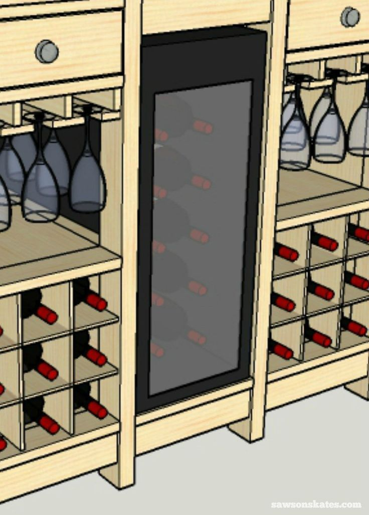 DIY Wine Credenza - Wine Cabinet - fridge close up