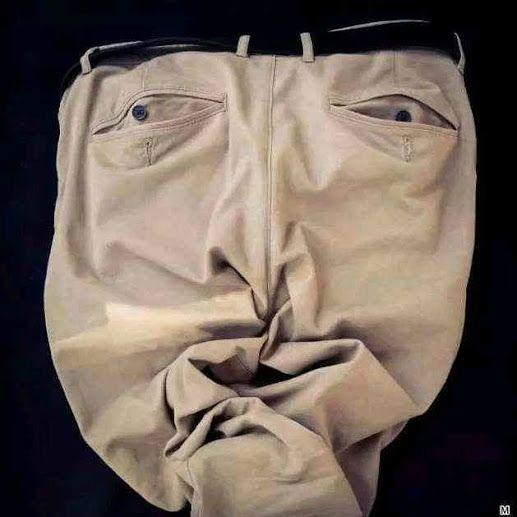 paréidolie, visages dans des objets, visage vêtement, art visage, art pantalon, recyclage pantalon,