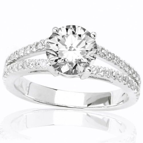 $1,575 : 1 Carat Double Row Pave Set Split Shank Diamond Engagement Ring with a 0.58 Carat I SI2 Center Stone and 0.4 Carats of Side Diamonds (.98 Cttw)