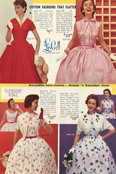 I want this red dress so bad!!  Thanks to Reminisce Magazine for sharing this 1955 Lana Lobell catalog,