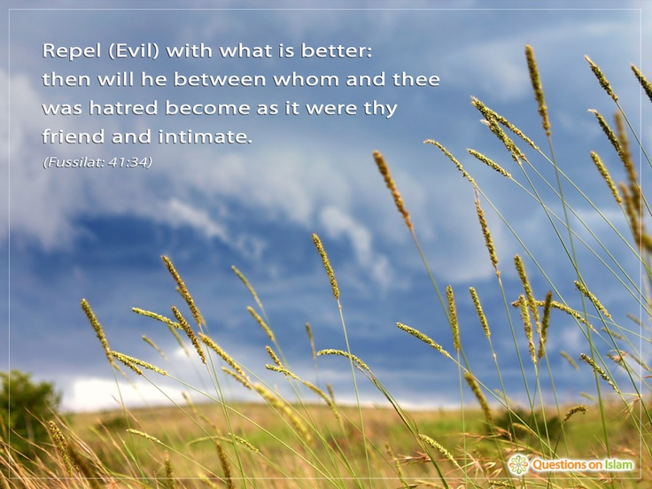 Repel (Evil) with what is better:   then will he between whom and thee  was hatred become as it were thy  friend and intimate.   (Fussilat: 41:34)    www.questionsonislam.com
