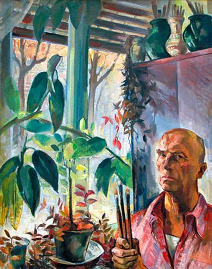 Zsögödi Nagy Imre (1893-1976) - Self portrait with ficus, 1967