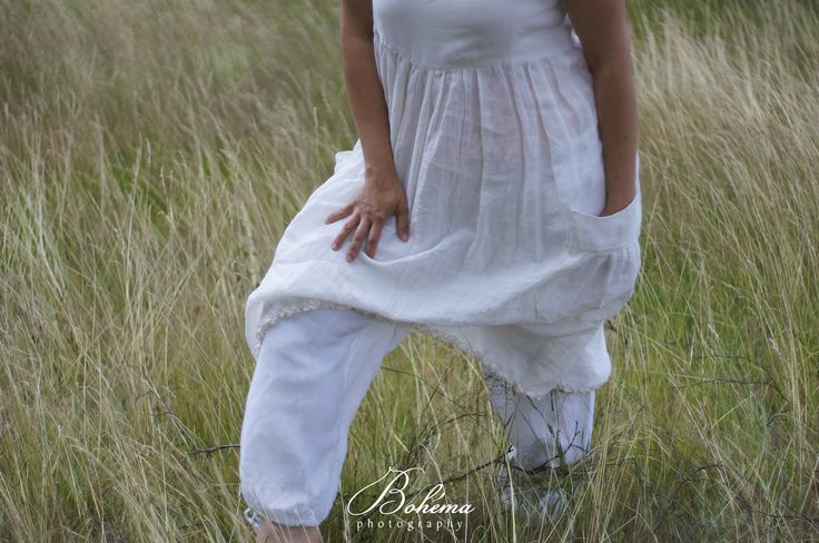 Lněný komplet šatovky s širokými volnými kalhotami pro milovnice lnu,bylinek, luk i lesů...