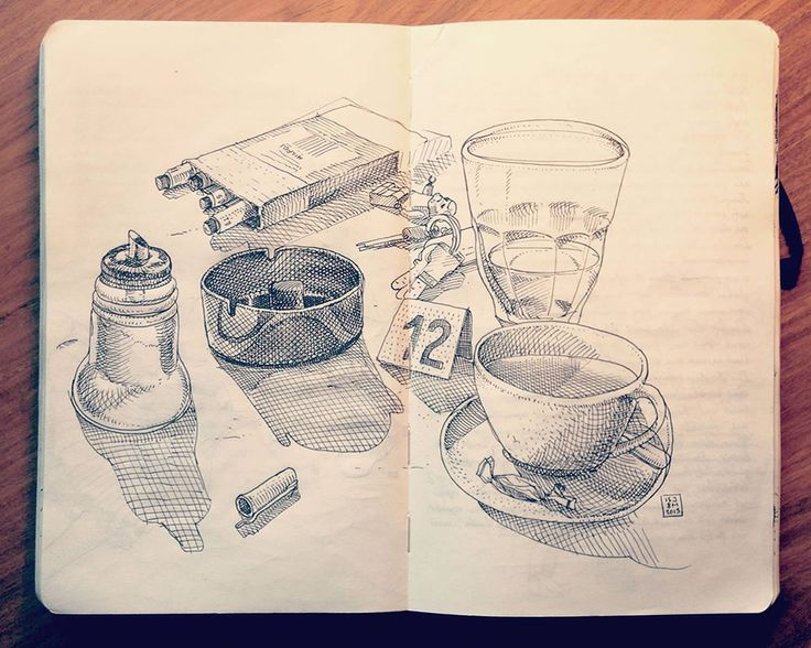 coffee and smokes, cigs, sketchbook drawing by Jared Muralt