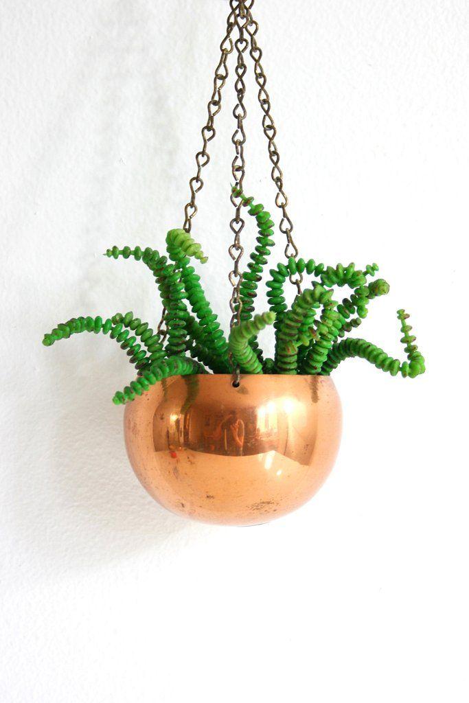Vintage Hanging Copper Planter by Coppercraft Guild / Vintage Copper Plant Pot