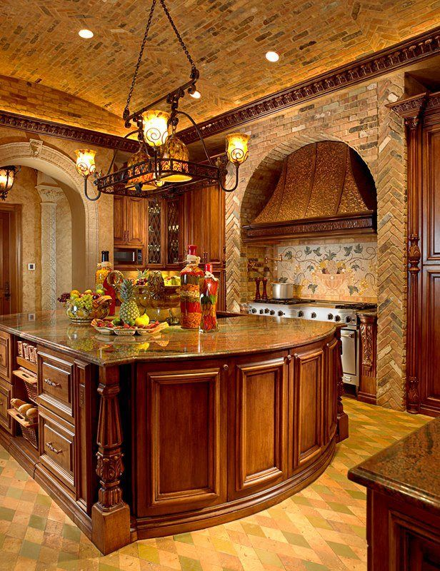Tuscan kitchen. lighting, home accents, and draperies Tuscan style DesignNashville.com complimentary design planning