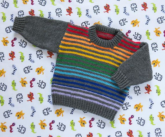 Boys Rainbow Striped Jumper, Sweater, Pullover. Hand Knit