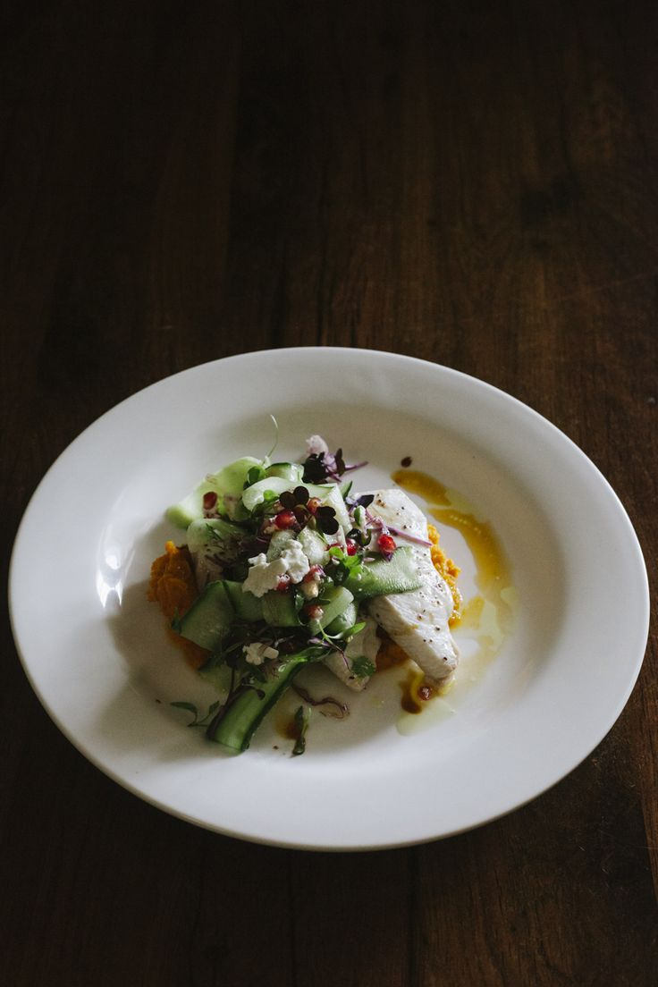 Grilled fish of the day, spiced pumpkin puree, shaved cucumber, pomegranate & feta salad (gf)