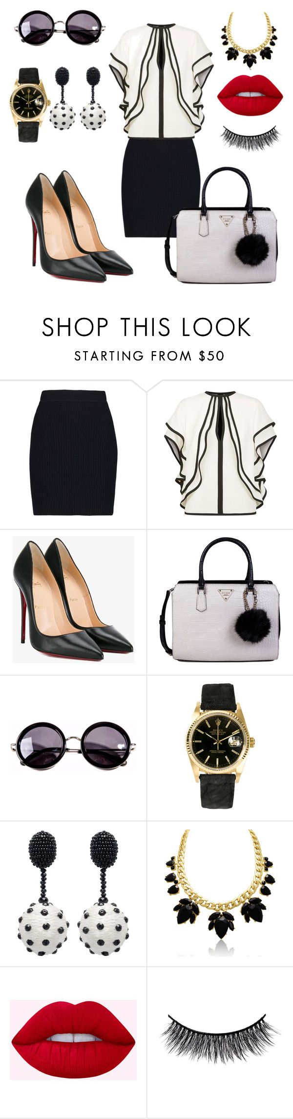 """Strong lady"" by putxzzahra ❤ liked on Polyvore featuring Helmut Lang, Elie Saab, Christian Louboutin, GUESS, Linda Farrow, Rolex, Oscar de la Renta and Battington"