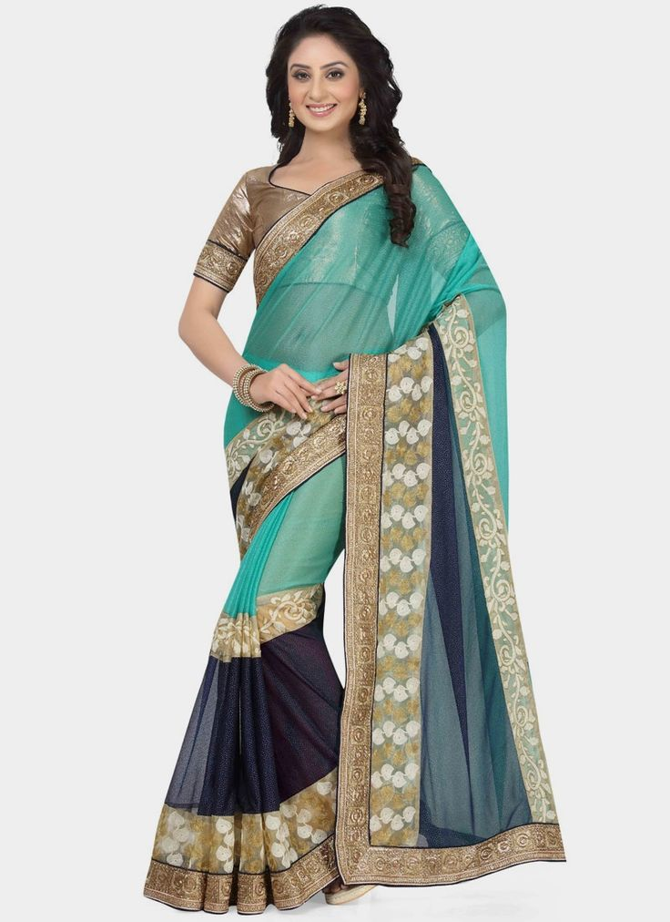 Buy latest saree collection of designer wedding sarees for womens, cheap indian sarees shopping. Buy this jazzy lycra navy blue and sea green saree.