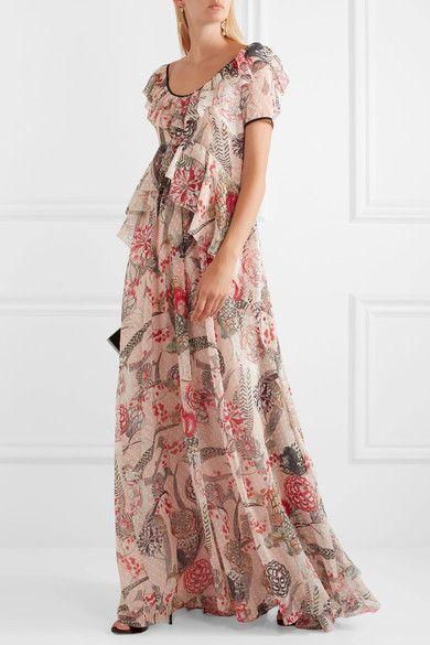 Temperley London | Shire ruffled printed Swiss-dot chiffon maxi dress  | NET-A-PORTER.COM
