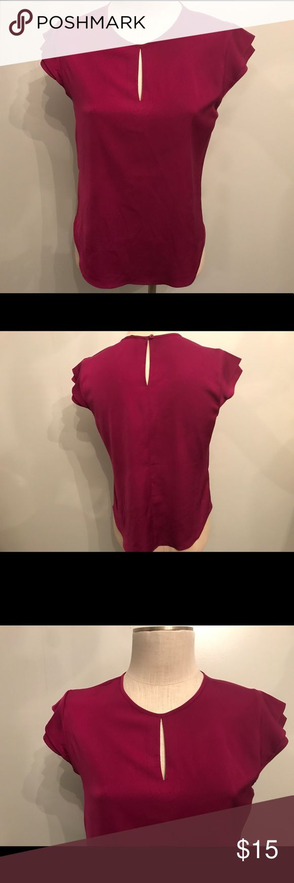 Hot pink blouse - Ann Taylor Small Hot pink short-sleeved blouse by Ann Taylor size small! Excellent condition! Ann Taylor Tops Blouses