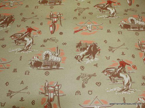1940 S Vintage Wallpaper Cowboy Western Kraft Paper